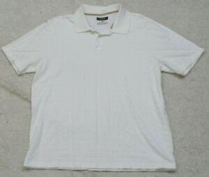 Alfani White Polo Shirt Cotton Short Sleeve Size Large Man's Solid 2-Button Mens
