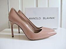 NIB $595 Manolo Blahnik BB Pumps 105mm shoes Nude Patent 38.5 8.5 Beige
