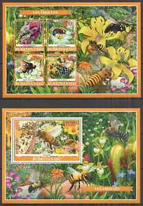 PE1065 2019 BURKINA FASO HONEY BEES FLOWERS FLORA & FAUNA BL+KB MNH