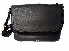 Fossil Peyton DBL Flap Large Black Genuine Leather Shoulder Handbag MSRP$228 NWT