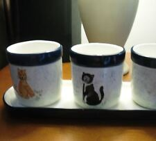 SET OF 4 CERAMIC TUXEDO STRIPED TABBY KITTY CAT PLANTER MOM CHRISTMAS GIFT NEW