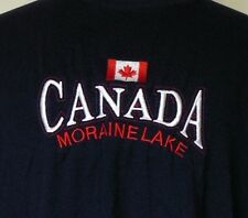 Canada Moraine Lake Alberta Navy Blue Embroidered T-Shirt XL Made in Canada