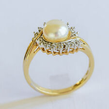 PEARL RING 7.1mm CULTURED PEARL GENUINE DIAMONDS REAL 9K 375 GOLD SIZE N1/2 NEW