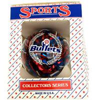Sports Collectors Series Washington Bullets Glass Christmas Ornament Vintage NOS