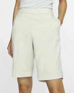 Nike Women's Bermuda Golf Shorts Size Large Light Beige Pockets Pull On Dry Fit