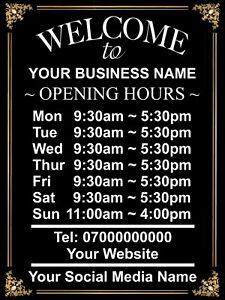 Personalised OPENING TIME/HOURS Metal Aluminium Plaque Sign Shop Pub Bar 20x15cm