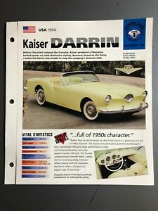 "1954 Kaiser Darrin Roadster IMP ""Hot Cars"" Spec Sheet / Folder Brochure Awesome"