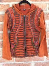 Small Jacket NWT Hoodie Rising Boho Patchwork Embroidery Cotton Nepal Rust Brown