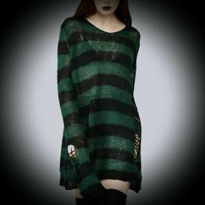 New Black/Green Striped Gothic Loose Distressed Holey Jumper Plus Size 18 20 22