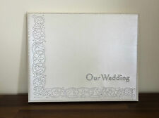 Our Wedding Day Off White Guest Book/Engagement Gift with Silver Stitching