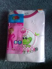 Nwt Girls Fotl Pink With Green Frog Prince Thermal Underwear Set Sz Xs 4/5