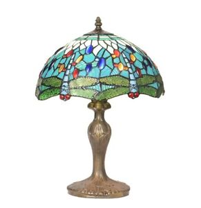 Aqua Blue Tiffany Stained Glass Dragonfly Table Lamp TV916T