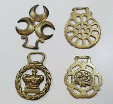 Vintage Brass Horse Brasses Plaques x4 Decorative Collectables Lot 3