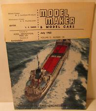 Model Maker & Model Cars Magazine, July 1962, Slot Cars, Rail Racing, MG, Ships