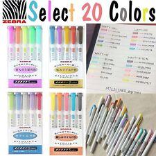 20 Color Full Set -  Zebra Mildliner Soft Color Double-Sided Highlighter Marker