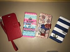 Apple iPhone 6/6S Wallet Card Case Cover Lot Of 4 Red, Pirate, Nautical & Hairy