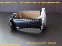 QUALITY DEPLOYMENT BLACK LEATHER STRAP FOR RAYMOND WEIL MODERN TANGO MEN 20MM