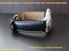 QUALITY DEPLOYMENT BLACK LEATHER STRAP FOR RAYMOND WEIL MODERN TANGO MEN 20MM