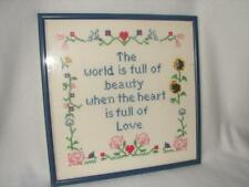 "Vintage Handmade Cross Stitch ""The World is full of Beauty"" Sampler Picture"