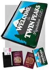 Passport Holder Twin Peaks Sign Printed Faux Leather Cover Case Red Room Retro