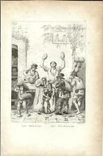 Stampa antica NAPOLI venditori d' anguria in strada 1834 Old print Engraving