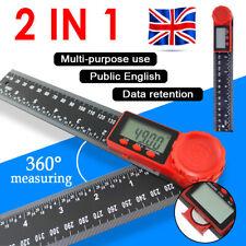 """2-in-1 Digital Angle Finder Ruler 200mm 7"""" Protractor Plastic Angel Gauge UK"""