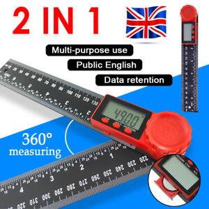 """2-In-1 Digital Angle Finder Ruler 200mm 7"""" Protractor Plastic Angel Gauge New UK"""