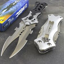 "8.5"" Mtech Usa Dual Blade Tactical Fantasy Folding Pocket Knife Edc Silver"