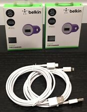 2-Pack Belkin 2.1A Car Charger w/FREE 2-Pack 7FT Data Cable for iPhone/iPad/iPod