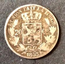 Belgique - Léopold Ier  - jolie monnaie 20 Centimes 1853  sans point