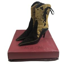 Womens 6 M Vis ā Vie Animal Print Leather Boots Booties Heels Yellow Pony Hair A