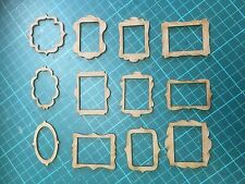 mdf  wooden 12 picture frame embellishments  various /shape /  sign / stencil