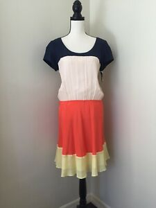 $208 Julie Dillon 100% Silk Orange, Yellow, Beige, N Blue Color Block Dress Sz 6