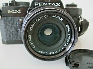 Pentax Asahi MX Black SLR Film Camera w/ Pentax-M 28mm F2.8 From JAPAN VTG  Z14
