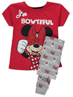 Girls Disney Minnie Mouse Pyjamas I'm Bowtiful Design PJS Age's 6-10 Years NEW