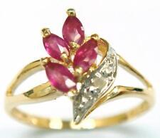 SYJEWELRYEMPIRE 10KT YELLOW GOLD MARQUISE RUBY & DIAMOND RING  SIZE 7   R1045