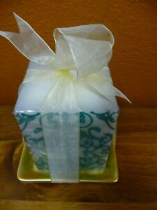 NEW White And Aqua Square Candle With Square Gold Tray Tied With Ribbon Bow