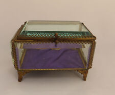 More details for vintage bevelled glass & gilt metal bijouterie / jewellery casket / box as found