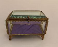VINTAGE BEVELLED GLASS & GILT METAL BIJOUTERIE / JEWELLERY CASKET / BOX AS FOUND