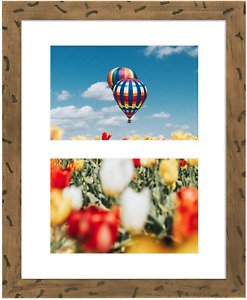 Photo Wood Collage Frame Real Glass White Mat Displays Home Decor Tabletop Use