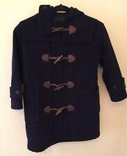 RALPH LAUREN Vtg Navy Blue Toggle Duffle Coat Zip Hoodie KIDS Unisex Sz L Rare