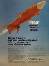 4/1980 PUB TELEDYNE RYAN AERONAUTICAL FIREBOLT USAF SUPERSONIC TARGET CIBLE AD