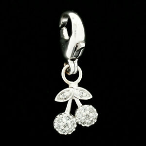 14k White Gold .10ct Diamond Lucky Two Cherry Dangle Lobster Clasp Charm Pendant