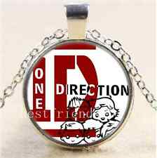 One Direction Logo Photo Cabochon Glass Tibet Silver Chain Pendant Necklace