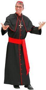 Deluxe Black Cardinal Priest Pope Bishop Religious Men Fancy Dress Costume S- XL