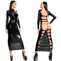 Sexy Lingerie Wet pvc look Faux Leather long dress Gothic Backless Clubwear