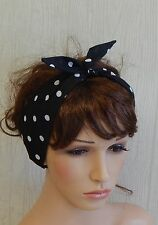 Self tie retro headband, rockabilly hair scarf, 50s pin up head wrap bandana