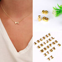 2PC Girl 26 Initial Letter Heart Necklace Simple A-Z Alphabet Pendant Xmas Gift