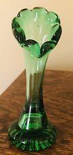 Vintage Green Glass Vase 6 1/2 In.