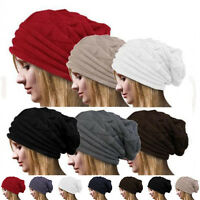 Men's Women's Knit Baggy Beanie Oversize Winter Hat Ski Slouchy Cap Skull